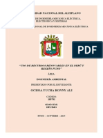 Uso de Recursos Renovables en El Peru y Region Puno