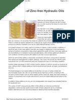 Advantages of Zinc-free Hydraulic Oils