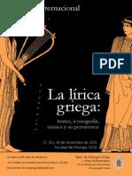 COLOQUIO INTERNACIONAL DE LÍRICA GRIEGA