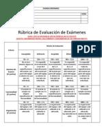 Ordinaro Rúbrica de Evaluación de Exámenes