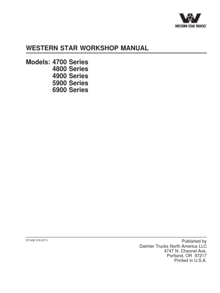 western star workshop manual