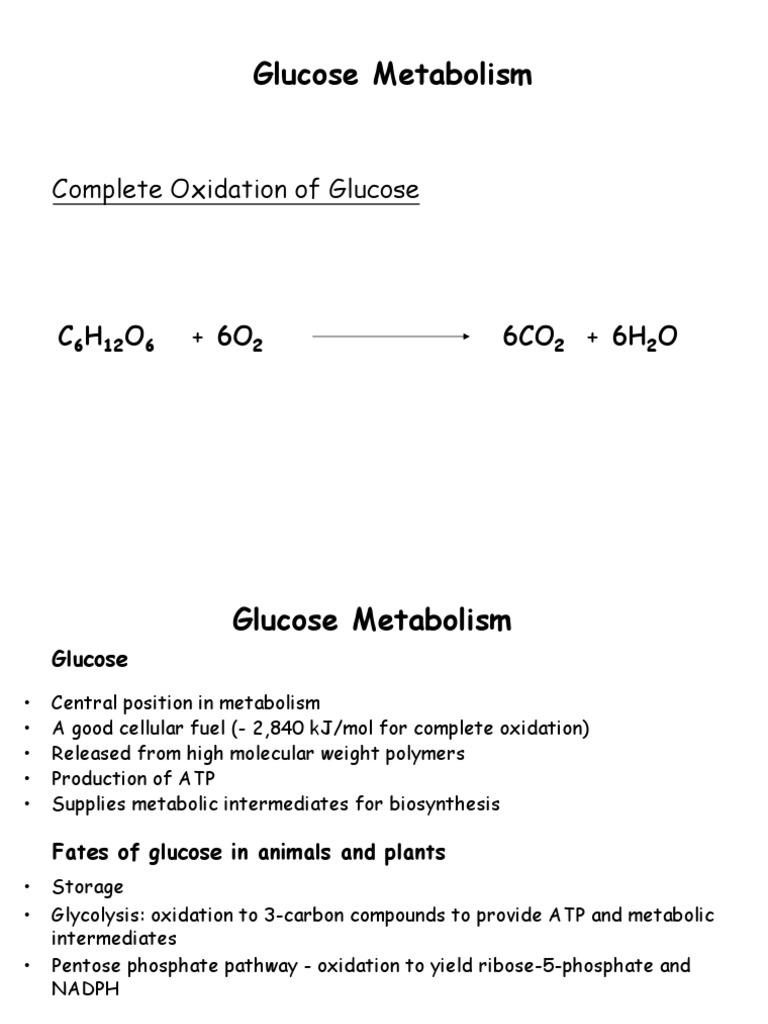complete oxidation of glucose yields