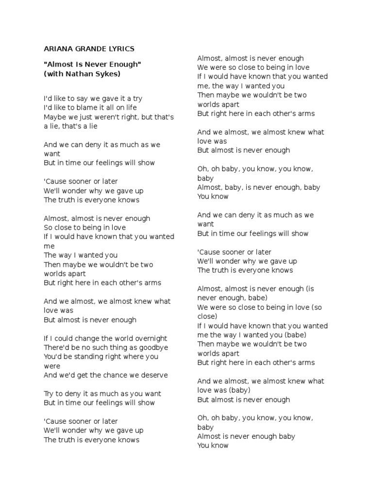 Almost Is Never Enough Lyrics Chords