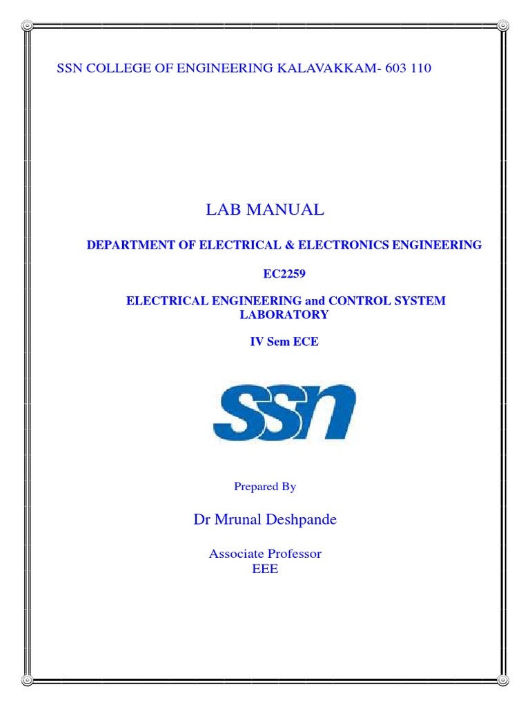 ELECTRICAL ENGINEERING AND CONTROL SYSTEMS LAB.pdf | Transformer | Electric  Generator
