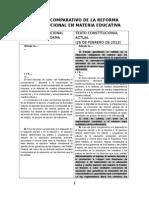 Cuadro Comparativo de La Reforma Constitucional en Materia Educativa