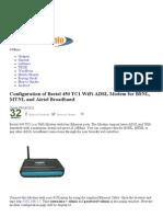 Configuration of Beetel 450 TC1 WiFi ADSL Modem for BSNL, MTNL and Airtel Broadband