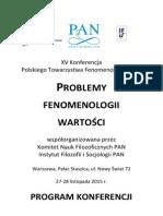 Program konferencji naukowej Problemy fenomenologii wartości