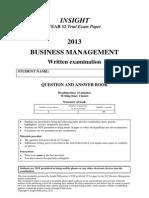 INSIGHT Business Management 2013 EXAM