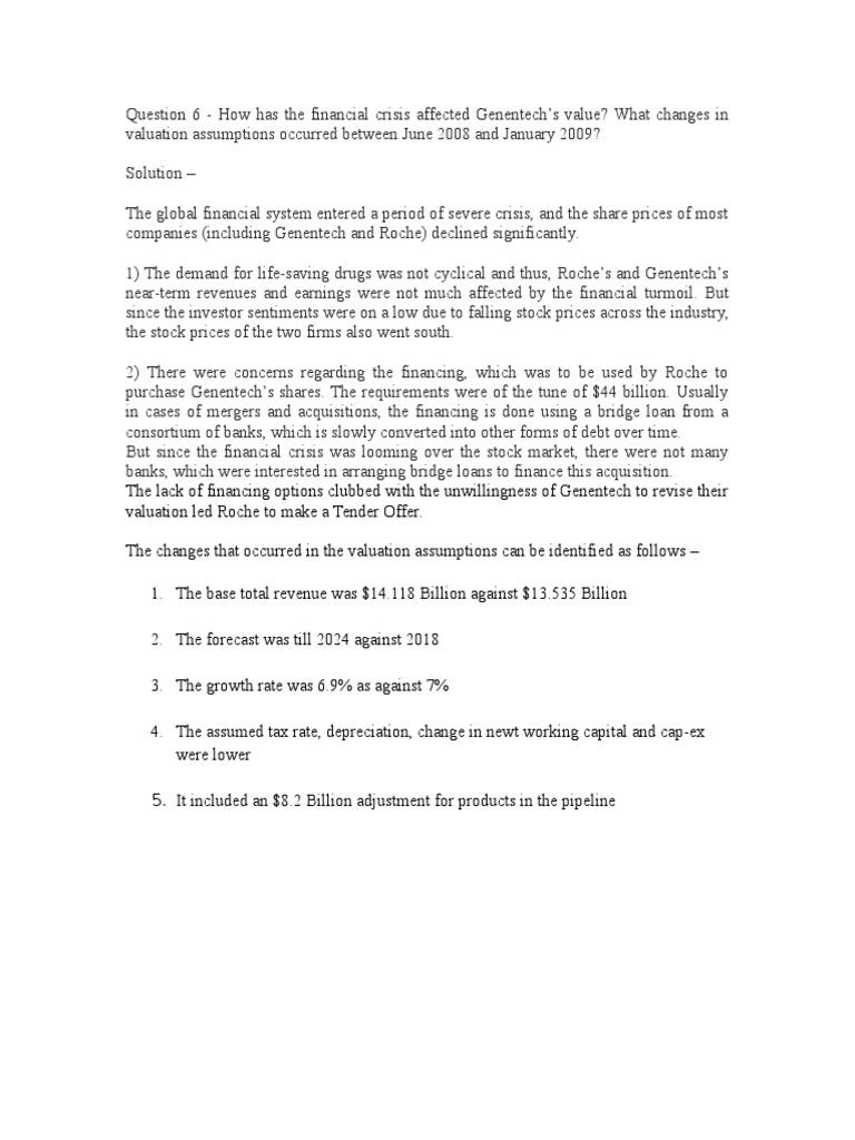 Question 6 - Genentech Case