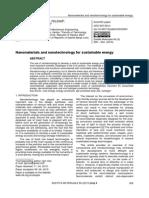 Nanomaterijali i Nanotehnologije Za Proizvodnju Održive Energije