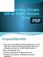 HANA Migrating Single DB to Multi Tenant Database