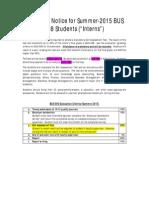 Important Notice for Su 2015 Interns 010615