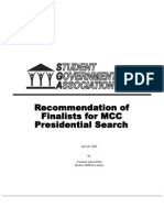 Student Recommendation of MCC President