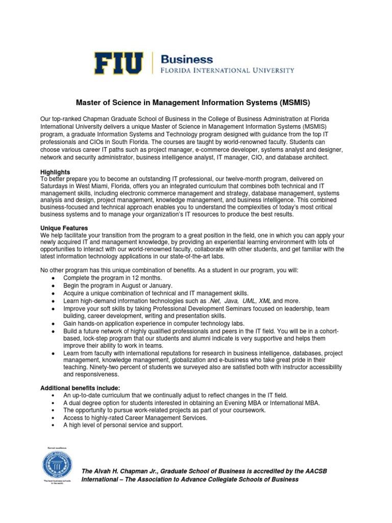 fiu ms in mis program graduate certificate in mis business process graduate record examinations