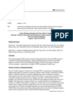 Banking Hearing Consumer Financial Protection Bureau's Semi-Annual Report to Congress 6. 10.14 Memo