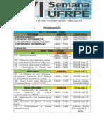 Programação da VI Semana de Ciências Sociais da UFRPE