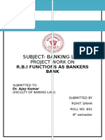 R.B.I function as banker's Bank