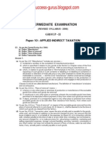 Paper-10 Applied Indirect Taxation  REVISIONARY TEST PAPER(RTP) for INTERMEDIATE DECEMBER 2009 TERM OF EXAMINATION