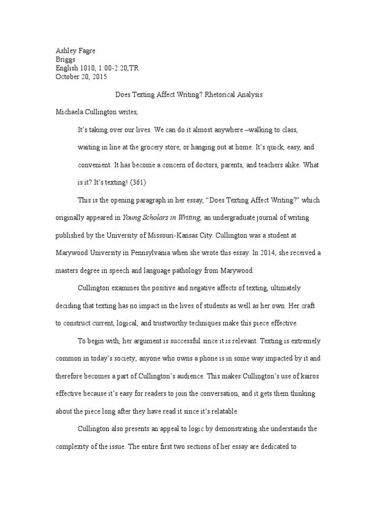 rhetorical analysis essay text messaging essays