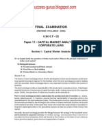 Paper-11 Capital Market Analysis & Corporate Laws REVISIONARY TEST PAPER(RTP) for FINAL DECEMBER 2009 TERM OF EXAMINATION