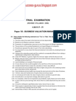 Paper-18 Business Valuation Management REVISIONARY TEST PAPER(RTP) for FINAL DECEMBER 2009 TERM OF EXAMINATION