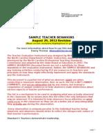 sample teacher behaviors