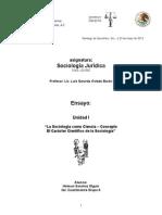 """Ensayo 1. Sociologia Juridica """"La Sociología como Ciencia – Concepto"""