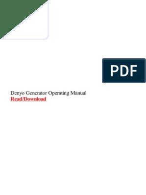Denyo Generator Operating Manual | Electric Generator