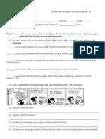 Prueba de Lenguaje y Comunicación Fun. Del Lenguaje