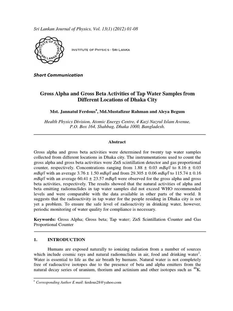 Gross Alpha and Gross Beta Activities of Tap Water Samples