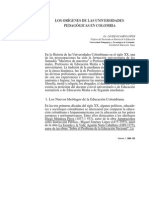 Los Origenes de La u Pedagogicas en Colombia