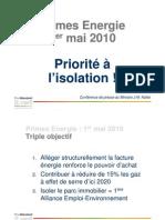 Les primes à l'énergie en 2010