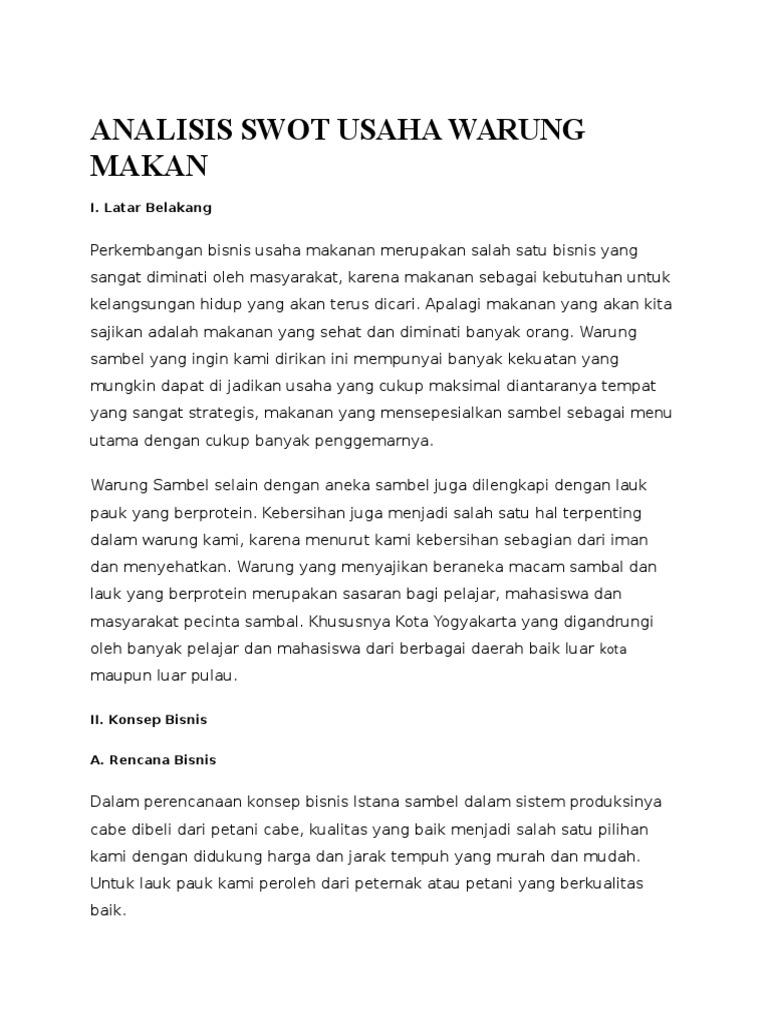 Analisis Swot Usaha Warung Makan Docx