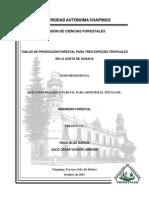 Elaboración de tablas de producción para tres especies en la región costa de Oaxaca.