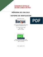 Memoria de Cálculo Sistema de Ventilación