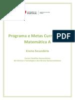 Programa Metas Curriculares Matematica a Secundario
