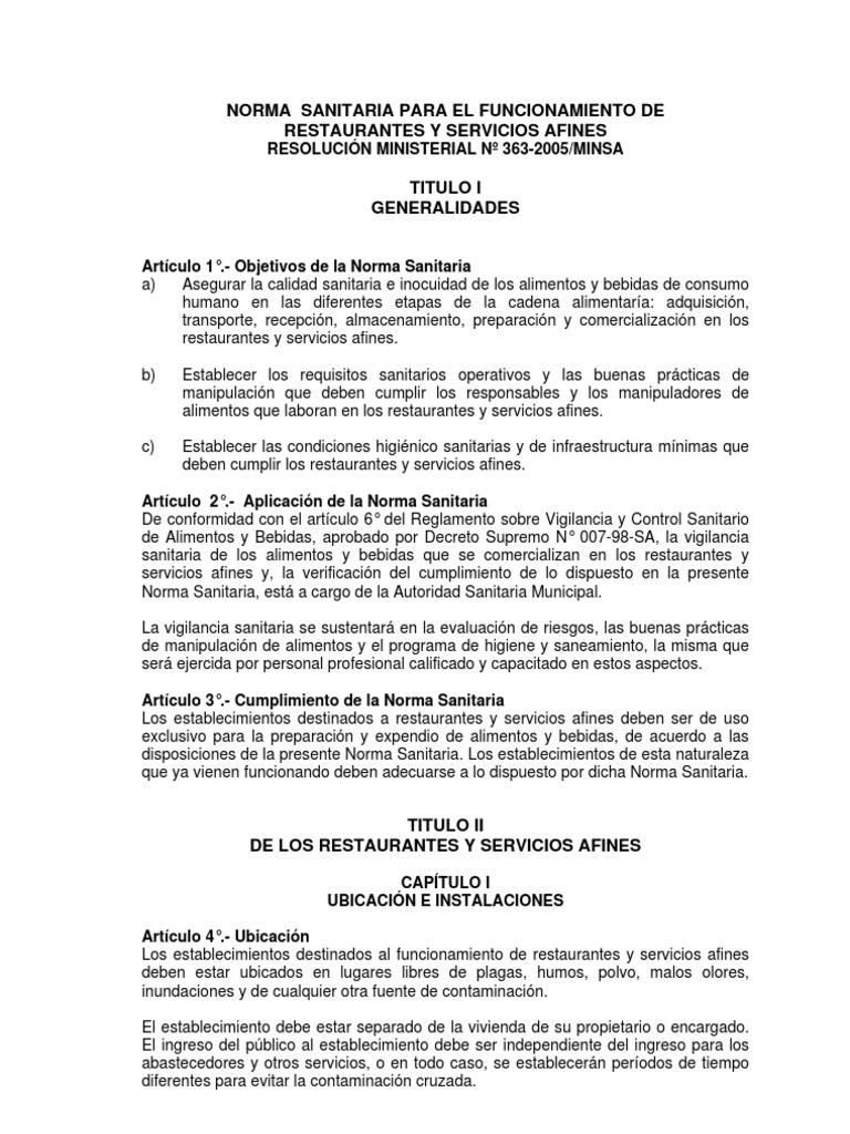 Norma sanitaria para el funcionamiento de restaurantes y for Manual de compras de un restaurante pdf