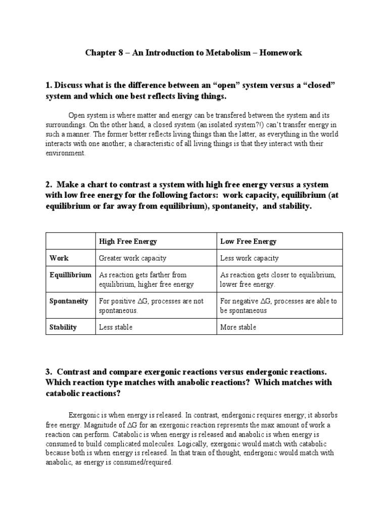 AP Biology Chapter 8 Homework Cofactor Biochemistry
