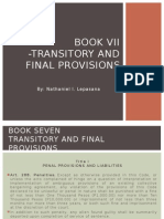 Book VII -Transitory and Final Provisions