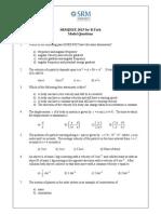 SRMJEEE Sample Paper-5 (Btech_model_questions)