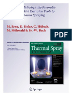 Synthesis of Tribologically Favorable Coatings for Hot Extrusion Tools by Suspension Plasma Spraying