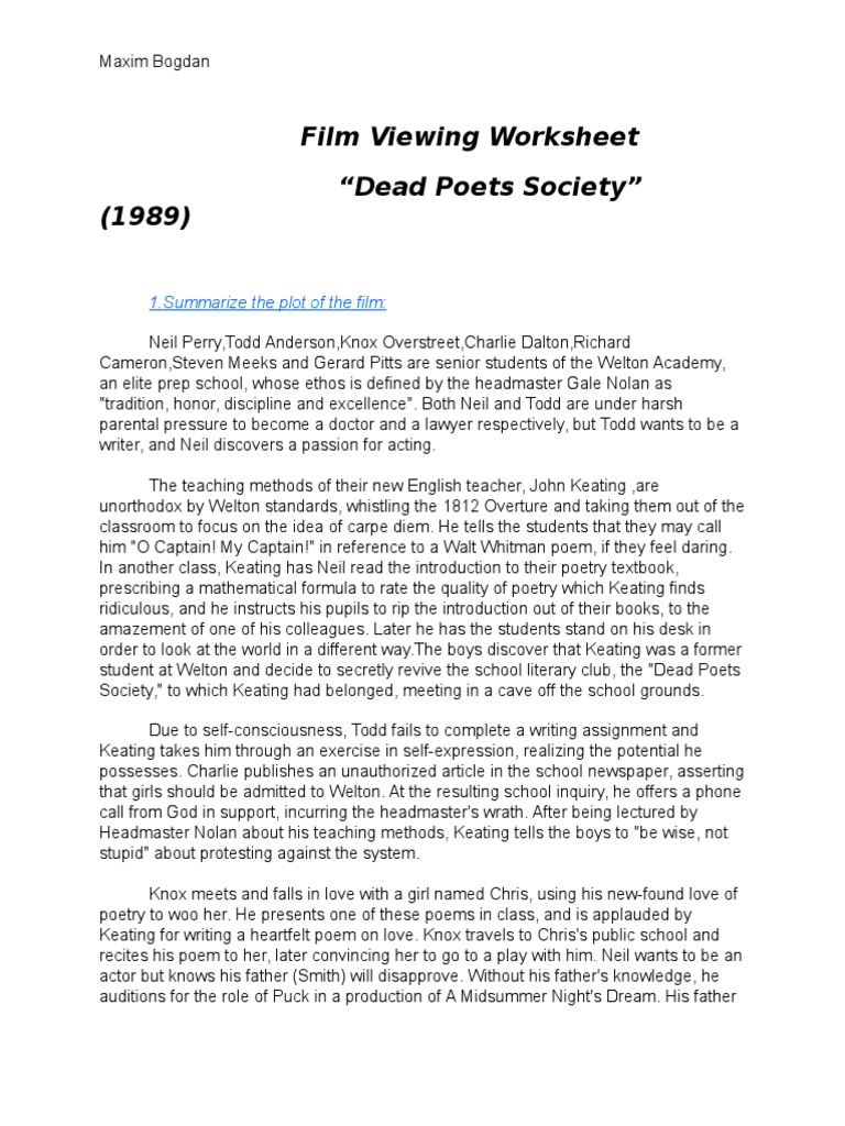 Uncategorized Dead Poets Society Worksheet dead poets society homework teaching and learning