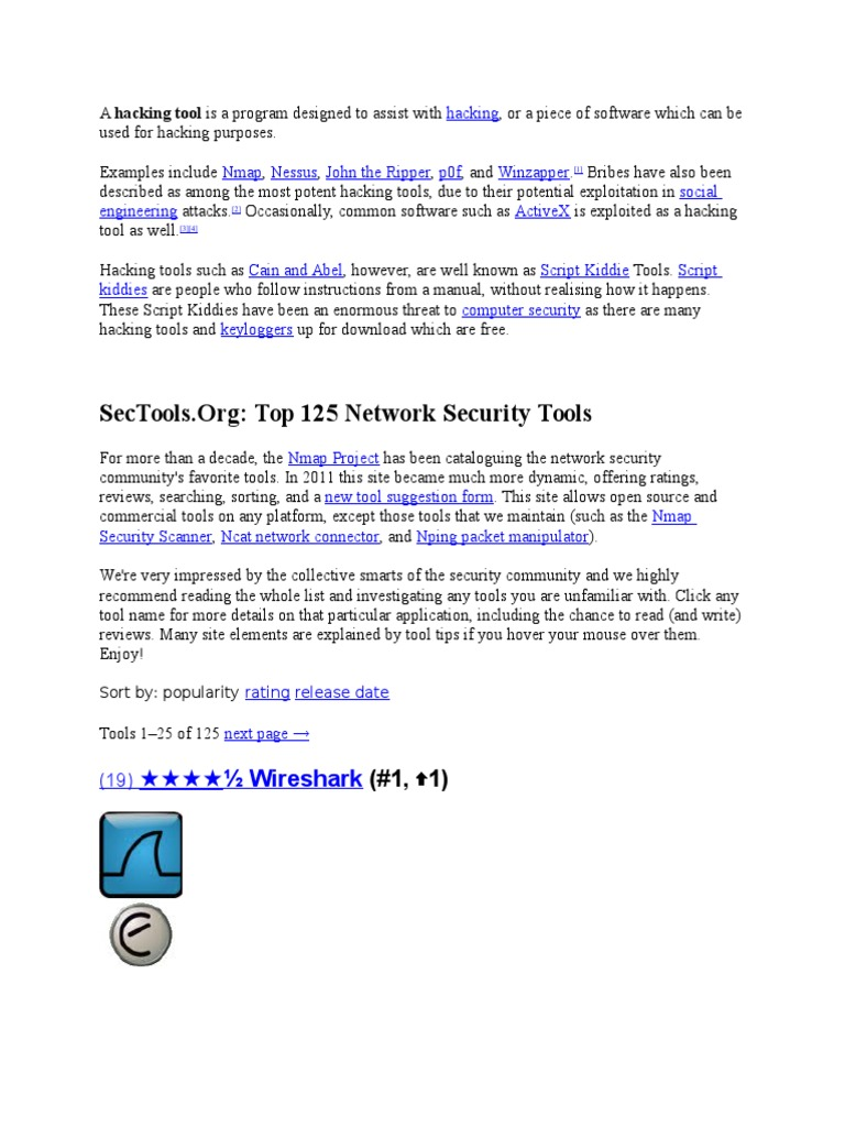 Hacking Tools | Security Engineering | Information Governance