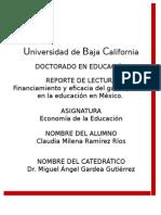 Financiamiento y eficacia del gasto público en la educación en México.