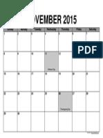Calendario de noviembre de 2015