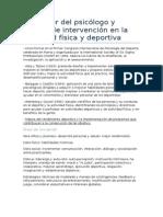 Quehacer Del Psicologo y Niveles de Intervencion en El Ambito de La Actividad Fisica y Deportiva