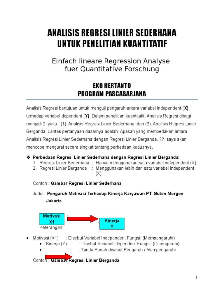 Analisis Regresi Linier Sederhana Untuk