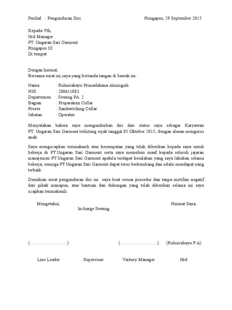12+ Contoh surat pengunduran diri pt ungaran sari garment terbaru terbaik