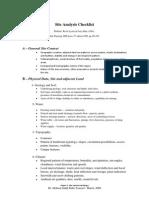 Site Analysis Checklist