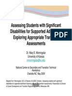 Assessing Students With Significant Disabilities for Supported Adulthood- Exploring Appropriate Transition Assessments